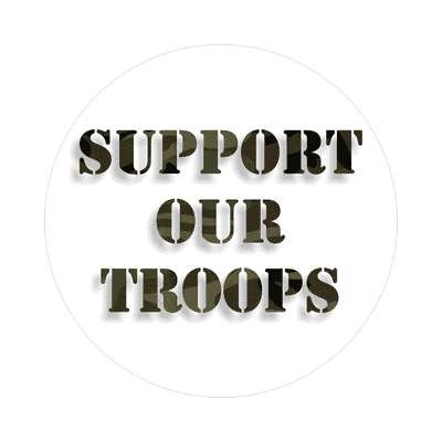 support our troops white camouflage sticker