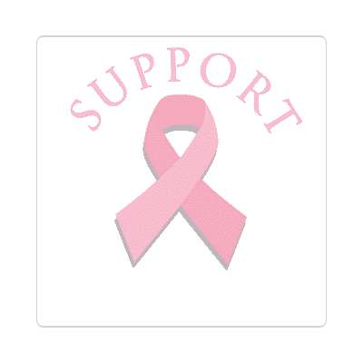 support pink ribbon cancer breast sticker