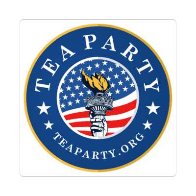 tea party torch flag sticker