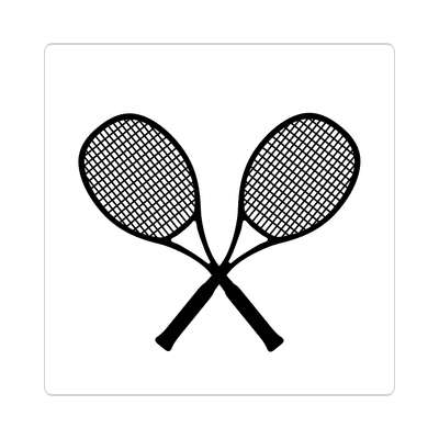 tennis rackets crossed white sticker