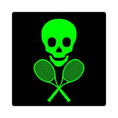 tennis rackets skull crossbones sticker