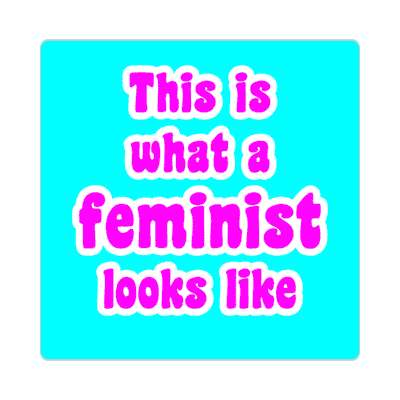this is what a feminist looks like aqua fun sticker