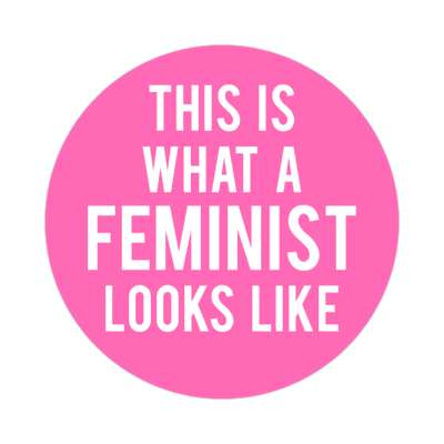 this is what a feminist looks like bubblegum pink sticker
