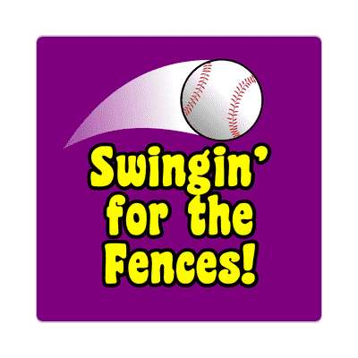 thrown baseball swinging for the fences sticker