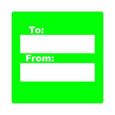 to from gift label bright green sticker
