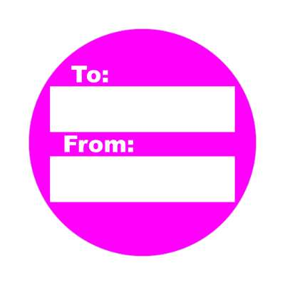 to from gift label bright magenta sticker