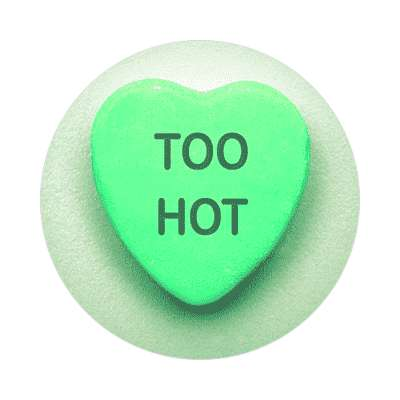 too hot valentines day heart candy sticker