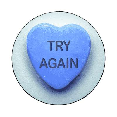 try again valentines day heart candy magnet