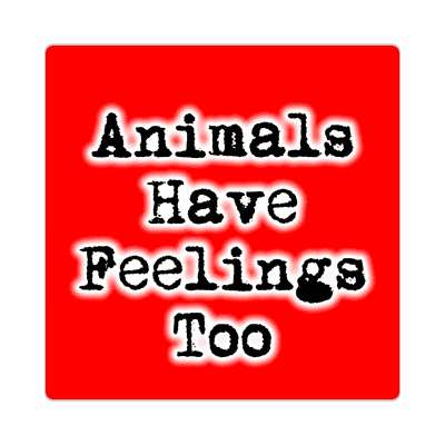 typewriter red animals have feelings too sticker
