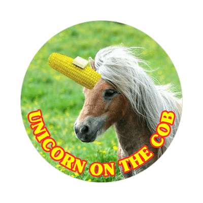 unicorn on the cob cute wordplay sticker