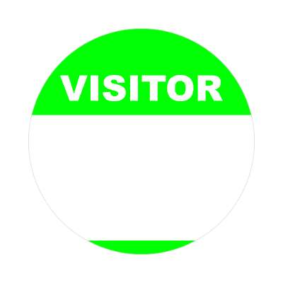 visitor bright green fill in nametag sticker
