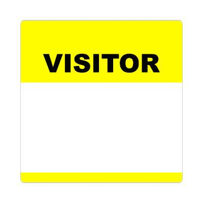 visitor bright yellow fill in nametag sticker