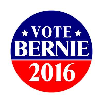 vote bernie 2016 dark blue bright red star sticker