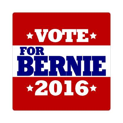 vote bernie 2016 deep red white stars sticker