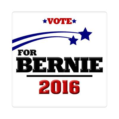 vote bernie 2016 white shooting stars sticker
