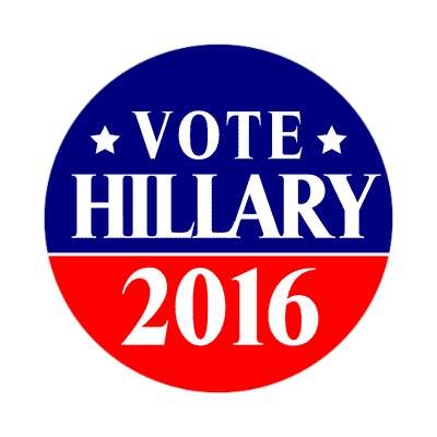 vote hillary 2016 dark blue bright red star sticker