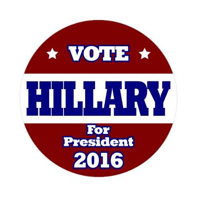 vote hillary 2016 deep red deep blue white sticker