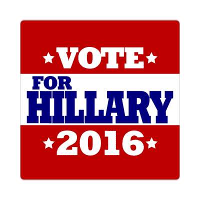 vote hillary 2016 deep red white stars sticker