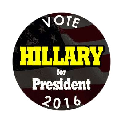 vote hillary 2016 president black sticker