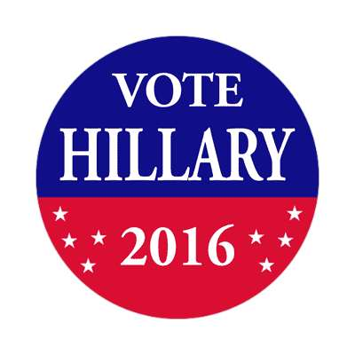 vote hillary 2016 red blue stars sticker