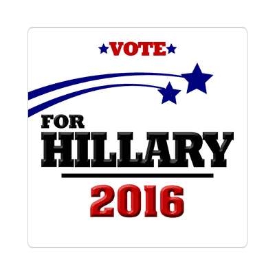 vote hillary 2016 white shooting stars sticker