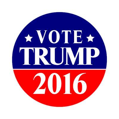 vote trump 2016 dark blue bright red star sticker