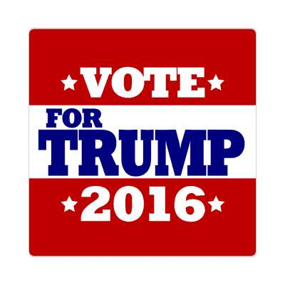 vote trump 2016 deep red white stars sticker