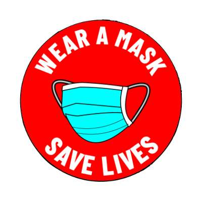 wear a mask save lives bright red magnet