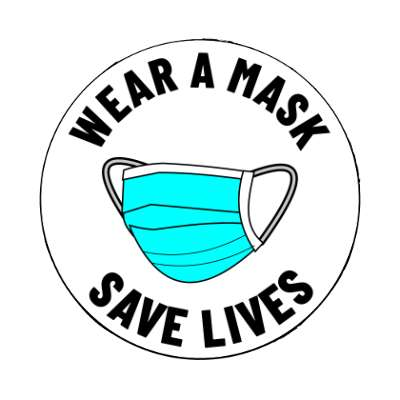 wear a mask save lives solid white magnet