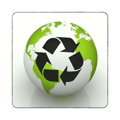 white globe recycle symbol magnet