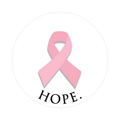 white pink ribbon hope sticker