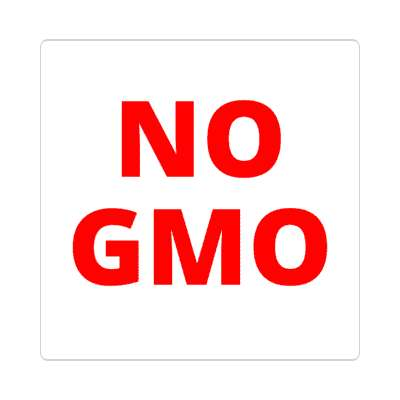 white red no gmo sticker