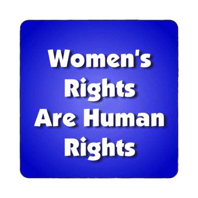 womens rights are human rights bold blue magnet