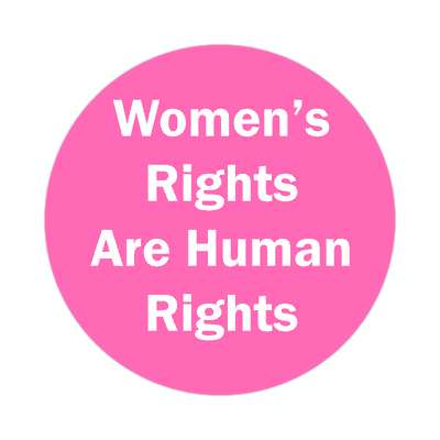 womens rights are human rights bubblegum pink sticker