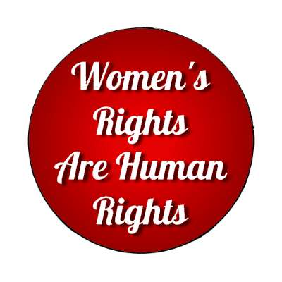 womens rights are human rights red cursive magnet