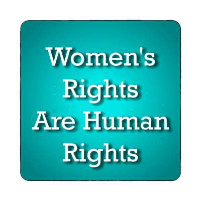 womens rights are human rights serif teal magnet