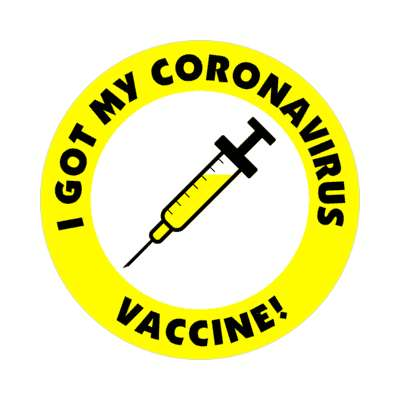 yellow i got my coronavirus vaccine needle stickers, magnet